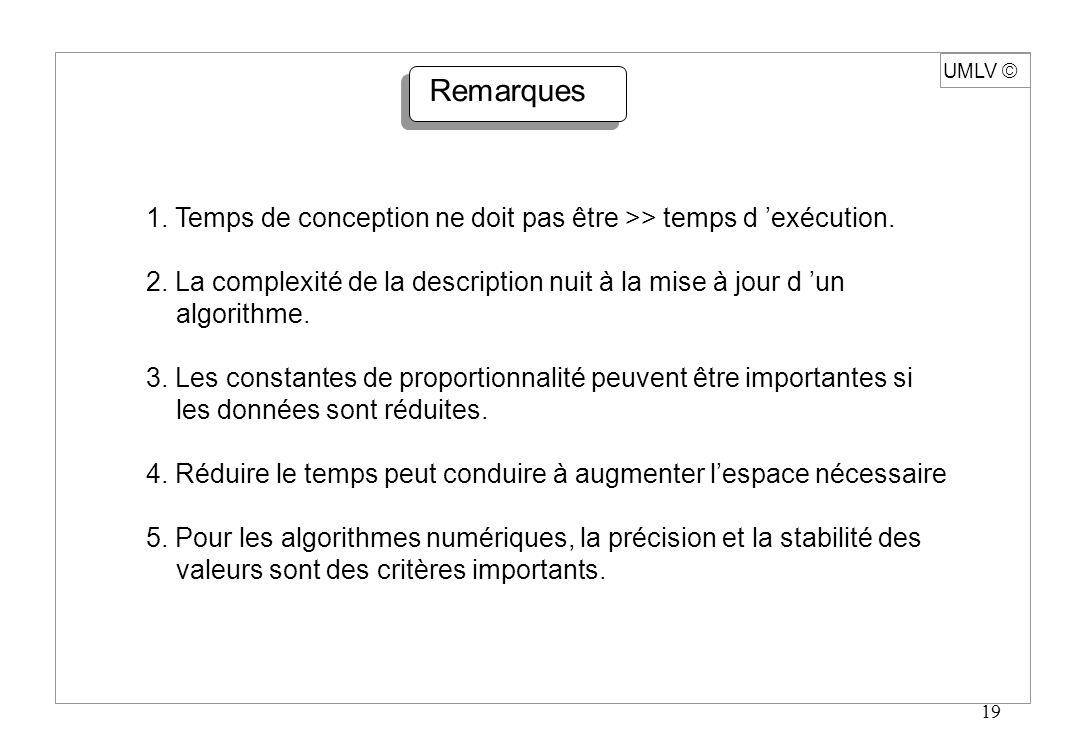 19 UMLV Remarques 1. Temps de conception ne doit pas être >> temps d exécution. 2. La complexité de la description nuit à la mise à jour d un algorith