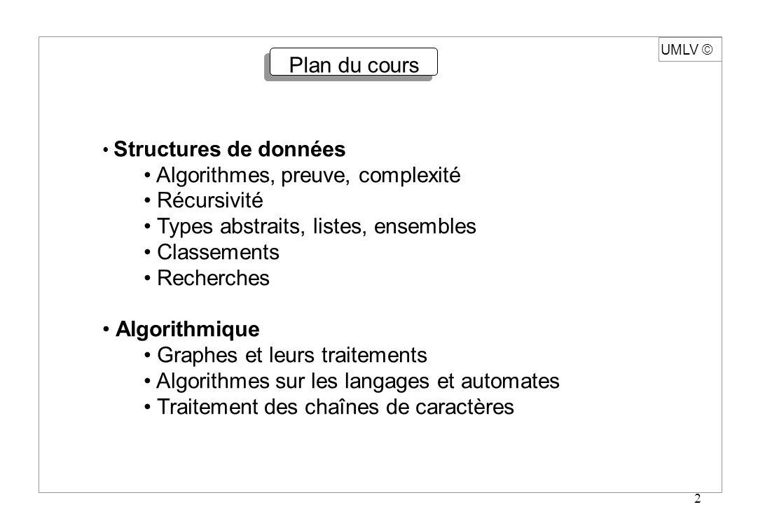 2 UMLV Plan du cours Structures de données Algorithmes, preuve, complexité Récursivité Types abstraits, listes, ensembles Classements Recherches Algor