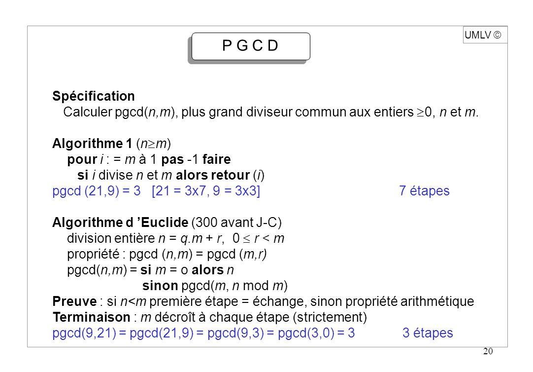20 UMLV P G C D Spécification Calculer pgcd(n,m), plus grand diviseur commun aux entiers 0, n et m. Algorithme 1 (n m) pour i : = m à 1 pas -1 faire s