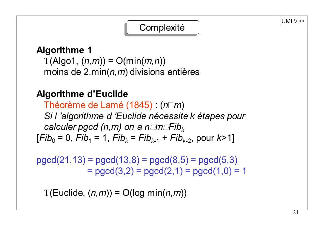 21 UMLV Complexité Algorithme 1 T (Algo1, (n,m)) = O(min(m,n)) moins de 2.min(n,m) divisions entières Algorithme dEuclide Théorème de Lamé (1845) : (n