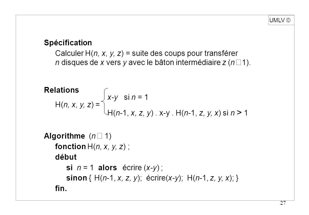 27 Spécification Calculer H(n, x, y, z) = suite des coups pour transférer n disques de x vers y avec le bâton intermédiaire z (n 1). Relations x-y si