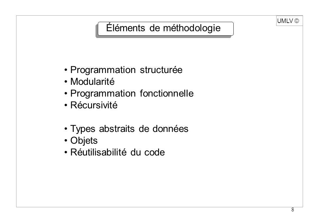 8 UMLV Éléments de méthodologie Programmation structurée Modularité Programmation fonctionnelle Récursivité Types abstraits de données Objets Réutilis