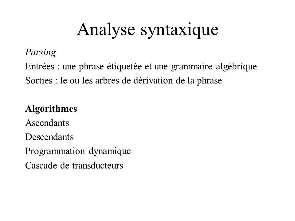 Analyse syntaxique Parsing Entrées : une phrase étiquetée et une grammaire algébrique Sorties : le ou les arbres de dérivation de la phrase Algorithmes Ascendants Descendants Programmation dynamique Cascade de transducteurs