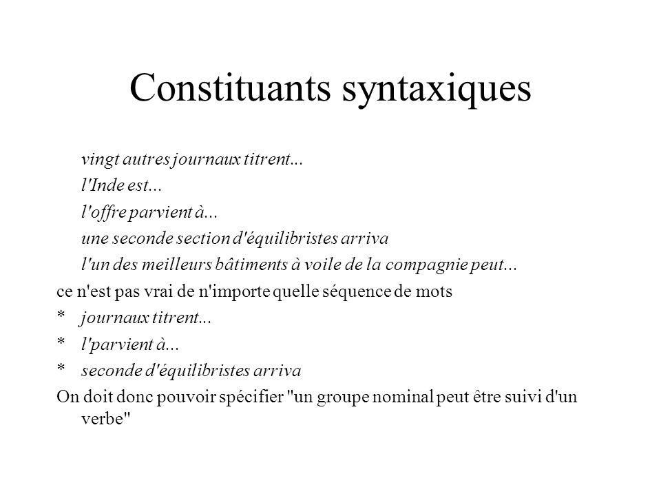 Constituants syntaxiques vingt autres journaux titrent...