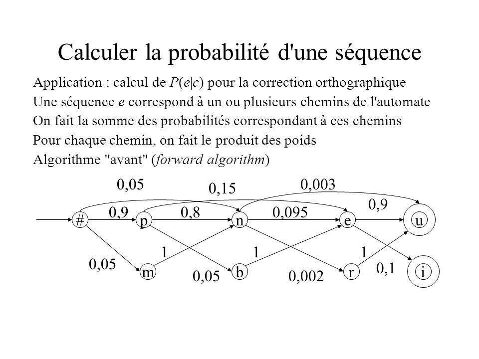 Calculer la probabilité d une séquence Application : calcul de P(e|c) pour la correction orthographique Une séquence e correspond à un ou plusieurs chemins de l automate On fait la somme des probabilités correspondant à ces chemins Pour chaque chemin, on fait le produit des poids Algorithme avant (forward algorithm) #pne u 0,90,80,095 0,9 m 0,05 b r i 0,15 0,003 0,002 0,1 111