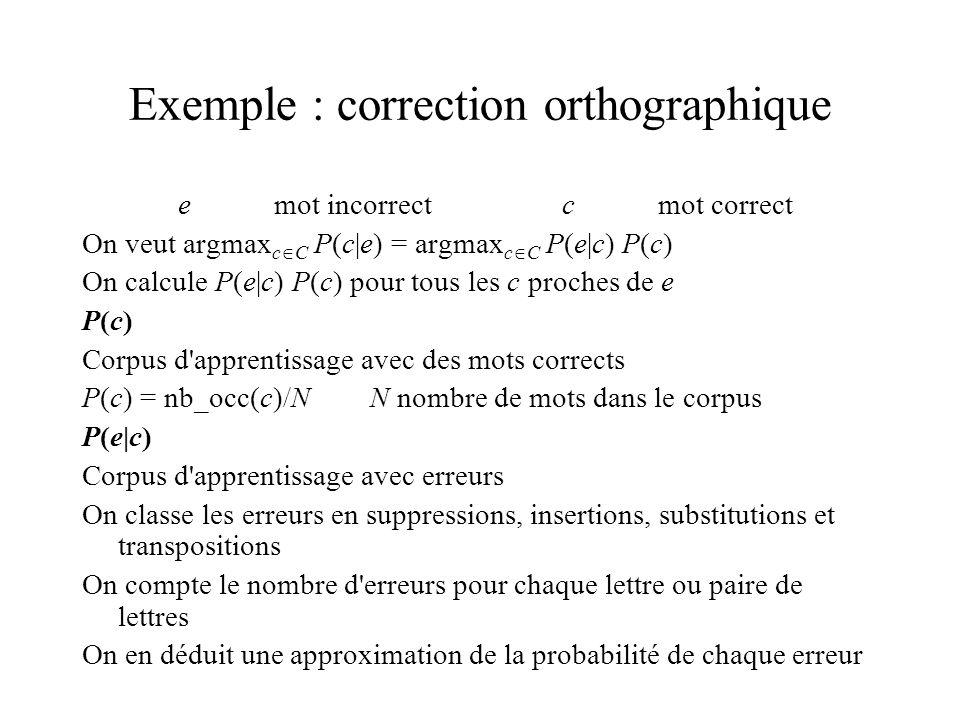 Exemple : correction orthographique emot incorrectcmot correct On veut argmax c C P(c|e) = argmax c C P(e|c) P(c) On calcule P(e|c) P(c) pour tous les c proches de e P(c) Corpus d apprentissage avec des mots corrects P(c) = nb_occ(c)/NN nombre de mots dans le corpus P(e|c) Corpus d apprentissage avec erreurs On classe les erreurs en suppressions, insertions, substitutions et transpositions On compte le nombre d erreurs pour chaque lettre ou paire de lettres On en déduit une approximation de la probabilité de chaque erreur
