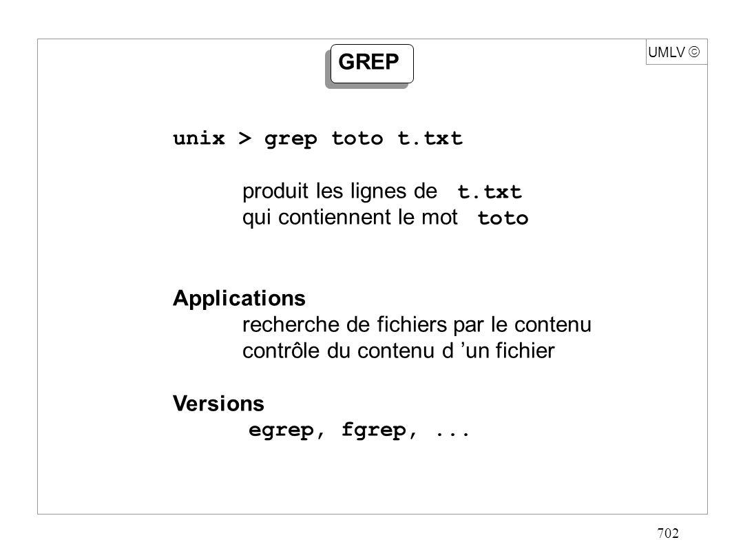 702 UMLV GREP unix > grep toto t.txt produit les lignes de t.txt qui contiennent le mot toto Applications recherche de fichiers par le contenu contrôl