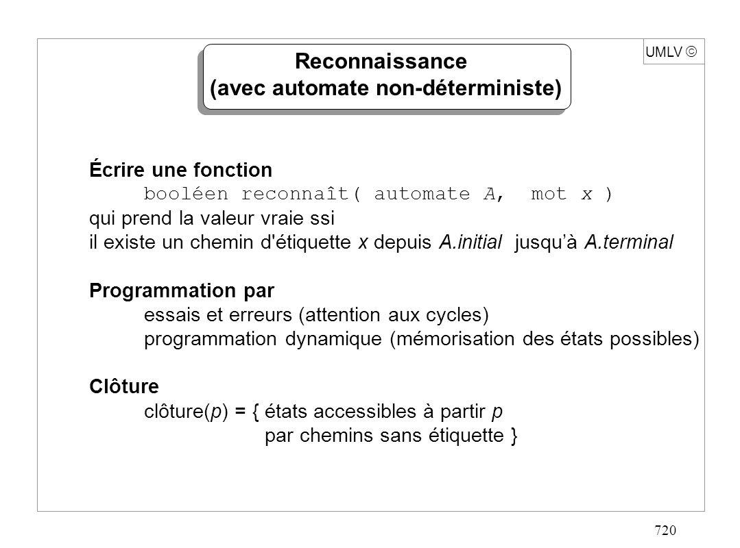 720 UMLV Reconnaissance (avec automate non-déterministe) Écrire une fonction booléen reconnaît( automate A, mot x ) qui prend la valeur vraie ssi il e