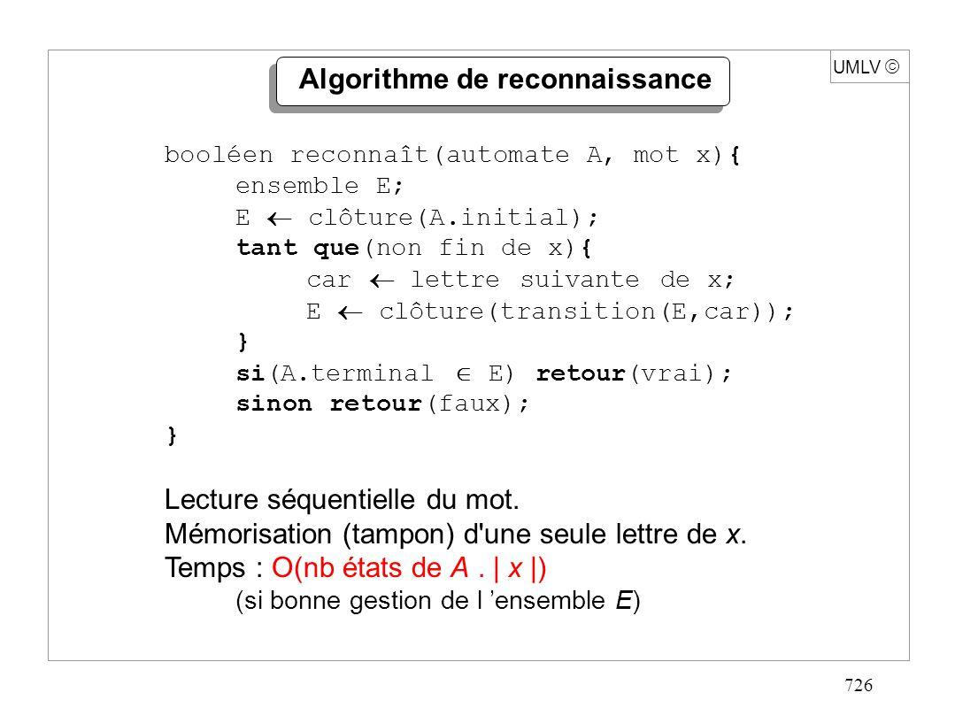 726 UMLV Algorithme de reconnaissance booléen reconnaît(automate A, mot x){ ensemble E; E clôture(A.initial); tant que(non fin de x){ car lettre suiva