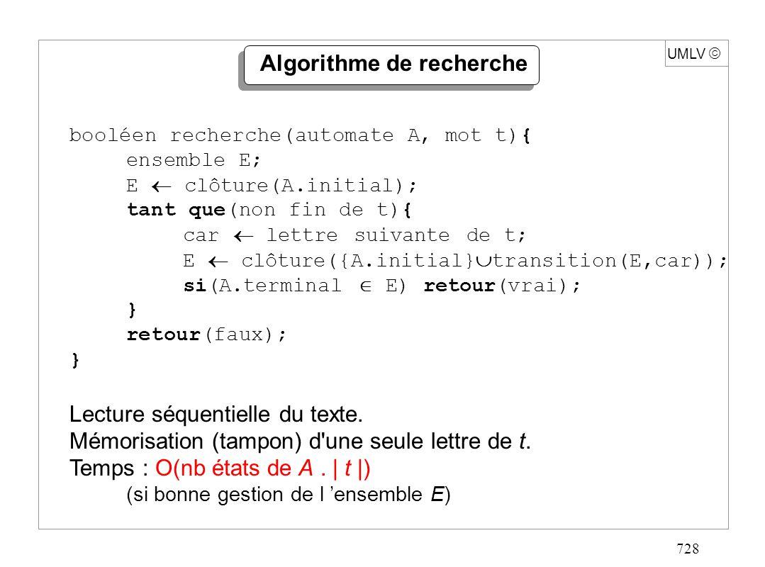 728 UMLV Algorithme de recherche booléen recherche(automate A, mot t){ ensemble E; E clôture(A.initial); tant que(non fin de t){ car lettre suivante d