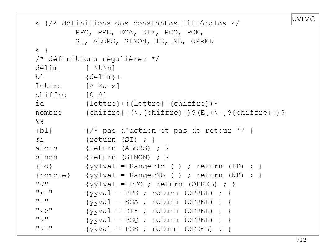 732 UMLV % {/* définitions des constantes littérales */ PPQ, PPE, EGA, DIF, PGQ, PGE, SI, ALORS, SINON, ID, NB, OPREL % } /* définitions régulières */