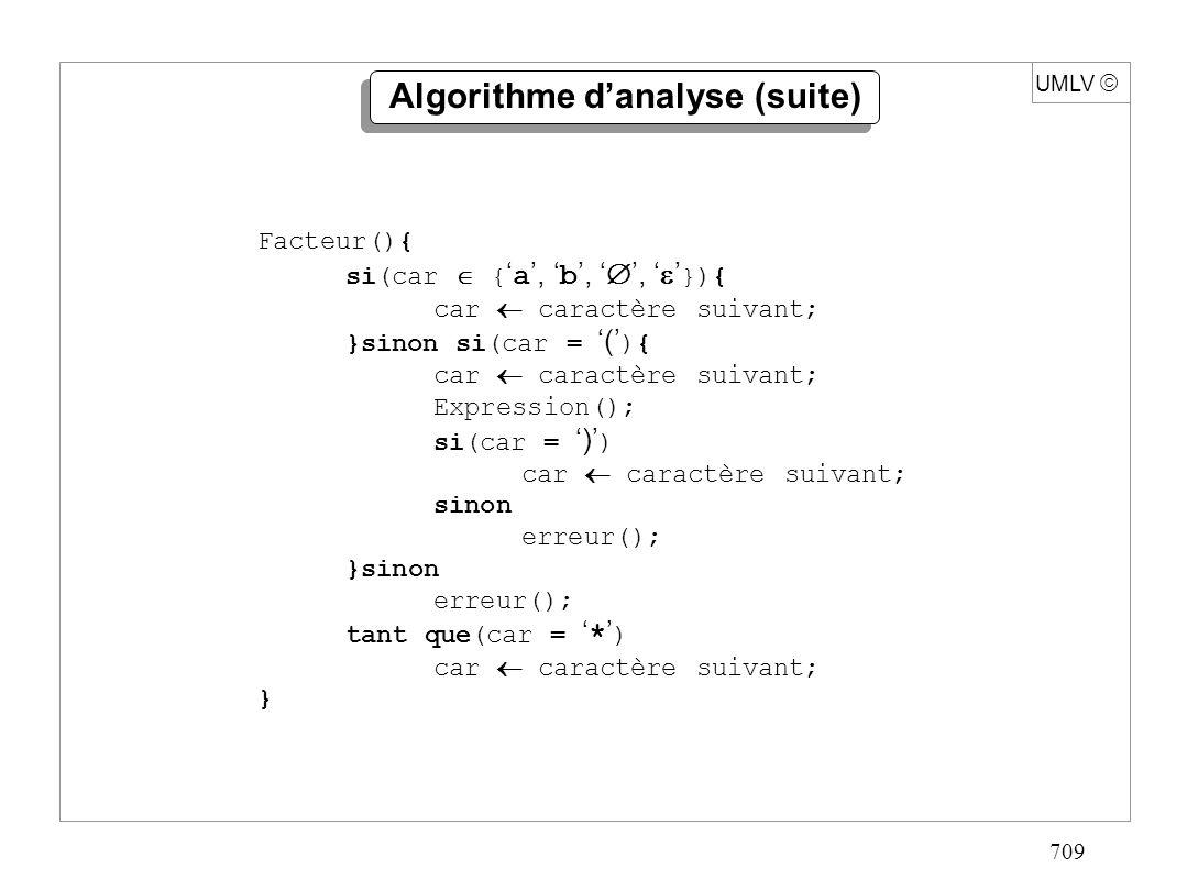 709 UMLV Algorithme danalyse (suite) Facteur(){ si(car { a, b,, }){ car caractère suivant; }sinon si(car = ( ){ car caractère suivant; Expression(); s