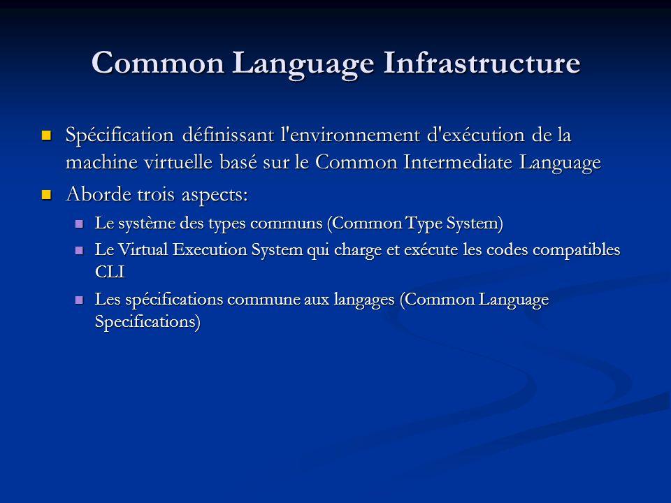Common Type System Indique les types utilisés par les langages basés sur le Framework.NET Indique les types utilisés par les langages basés sur le Framework.NET Concerne également lensemble des opérateurs sur les types.