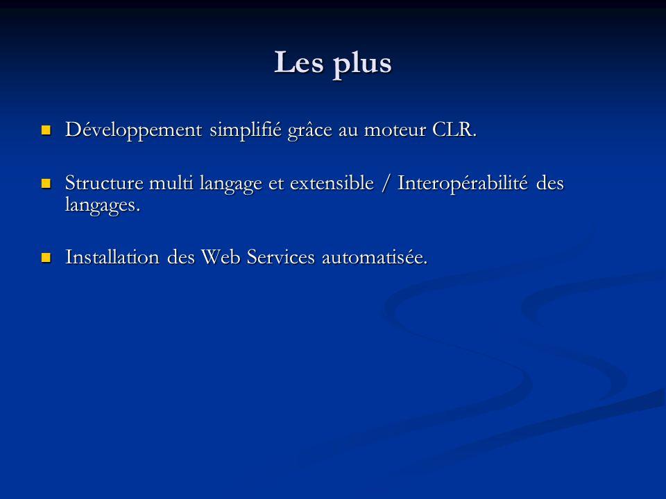 Les moins Problème de sécurité : pas approprié dans le cadre de développement Internet où lutilisateur na pas forcément un compte Windows.