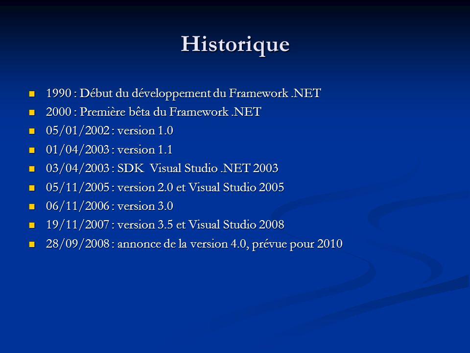 Caractéristiques Plateforme commune à 27 langages (VB,C#,J#,Python) Plateforme commune à 27 langages (VB,C#,J#,Python) Orienté Objet Orienté Objet Large choix de classes de base Large choix de classes de base Une architecture complète: le framework.NET Une architecture complète: le framework.NET