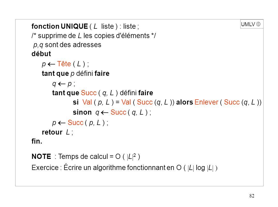 103 UMLV Implémentations possibles e2e2 enen e1e1 Elt Pile 2 1 pile 2 piles Pile 1 Listes chaînées S1 S2 sommet > 2 piles