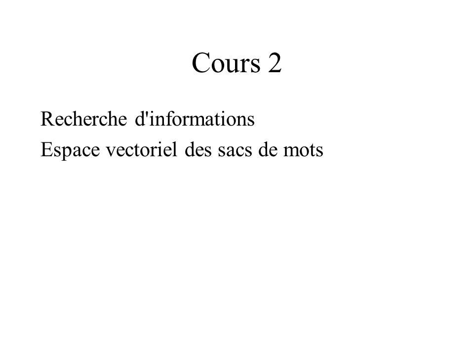 Cours 2 Recherche d informations Espace vectoriel des sacs de mots