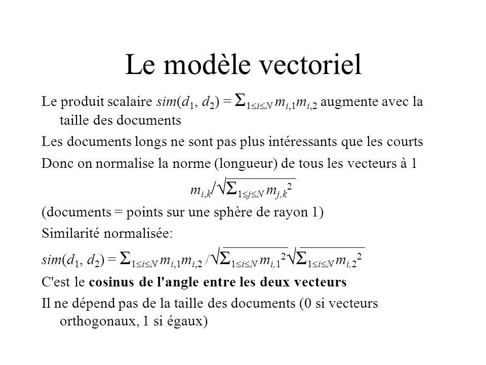 Le modèle vectoriel Le produit scalaire sim(d 1, d 2 ) = Σ 1 i N m i,1 m i,2 augmente avec la taille des documents Les documents longs ne sont pas plus intéressants que les courts Donc on normalise la norme (longueur) de tous les vecteurs à 1 m i,k / Σ 1 j N m j,k 2 (documents = points sur une sphère de rayon 1) Similarité normalisée: sim(d 1, d 2 ) = Σ 1 i N m i,1 m i,2 / Σ 1 i N m i,1 2 Σ 1 i N m i,2 2 C est le cosinus de l angle entre les deux vecteurs Il ne dépend pas de la taille des documents (0 si vecteurs orthogonaux, 1 si égaux)