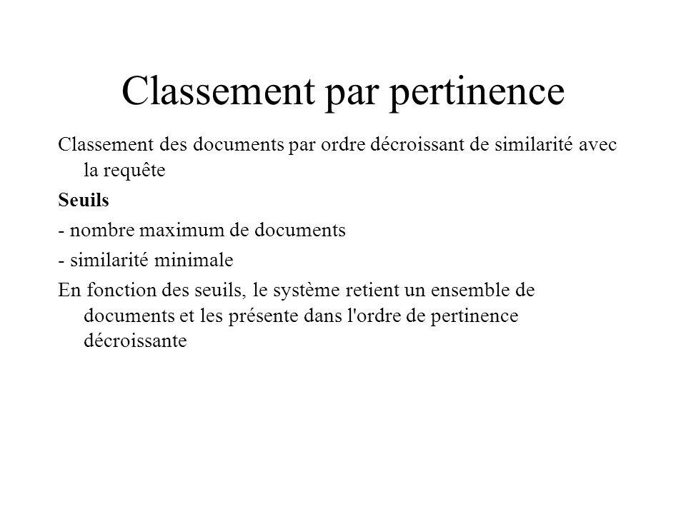 Classement par pertinence Classement des documents par ordre décroissant de similarité avec la requête Seuils - nombre maximum de documents - similari