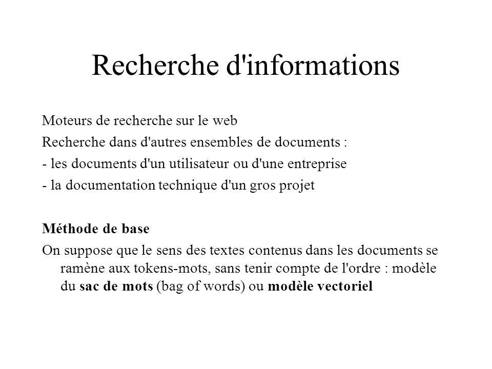 Recherche d'informations Moteurs de recherche sur le web Recherche dans d'autres ensembles de documents : - les documents d'un utilisateur ou d'une en