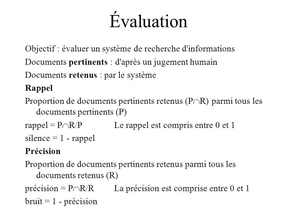 Évaluation Objectif : évaluer un système de recherche d informations Documents pertinents : d après un jugement humain Documents retenus : par le système Rappel Proportion de documents pertinents retenus (P R) parmi tous les documents pertinents (P) rappel = P R/PLe rappel est compris entre 0 et 1 silence = 1 - rappel Précision Proportion de documents pertinents retenus parmi tous les documents retenus (R) précision = P R/RLa précision est comprise entre 0 et 1 bruit = 1 - précision