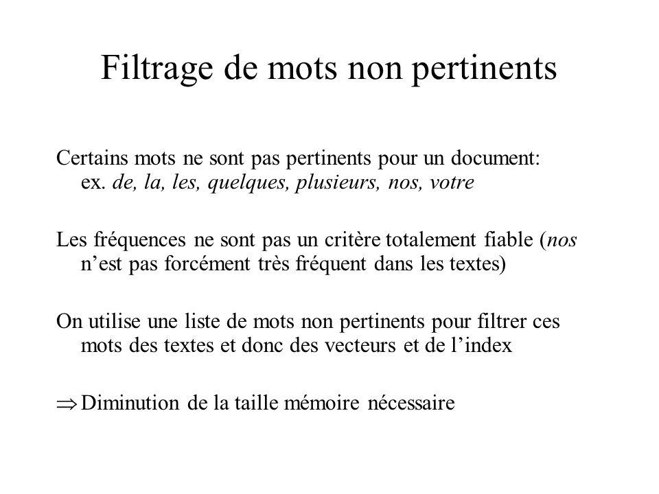 Filtrage de mots non pertinents Certains mots ne sont pas pertinents pour un document: ex. de, la, les, quelques, plusieurs, nos, votre Les fréquences