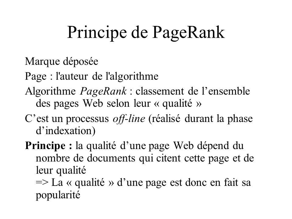 Principe de PageRank Marque déposée Page : l auteur de l algorithme Algorithme PageRank : classement de lensemble des pages Web selon leur « qualité » Cest un processus off-line (réalisé durant la phase dindexation) Principe : la qualité dune page Web dépend du nombre de documents qui citent cette page et de leur qualité => La « qualité » dune page est donc en fait sa popularité