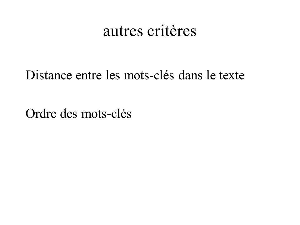 autres critères Distance entre les mots-clés dans le texte Ordre des mots-clés