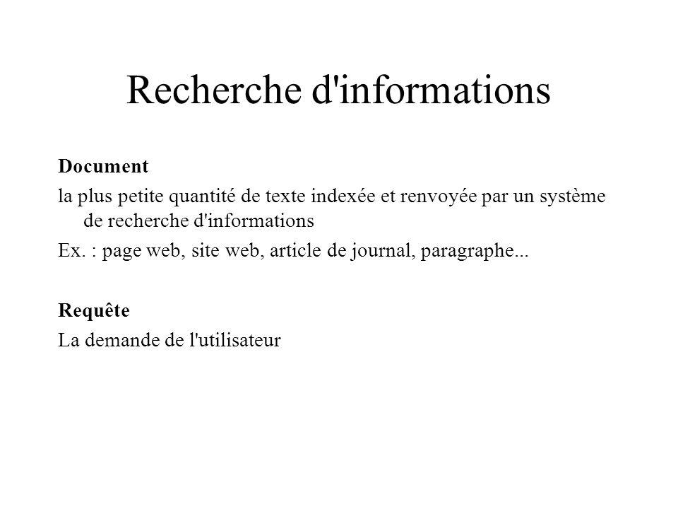 Recherche d'informations Document la plus petite quantité de texte indexée et renvoyée par un système de recherche d'informations Ex. : page web, site