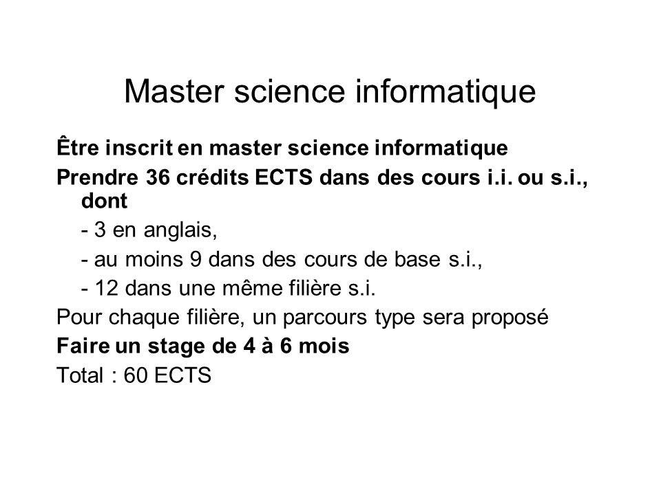Master science informatique Être inscrit en master science informatique Prendre 36 crédits ECTS dans des cours i.i. ou s.i., dont - 3 en anglais, - au
