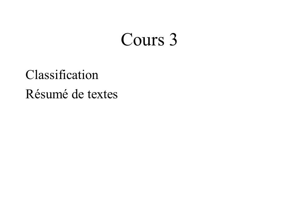 Cours 3 Classification Résumé de textes