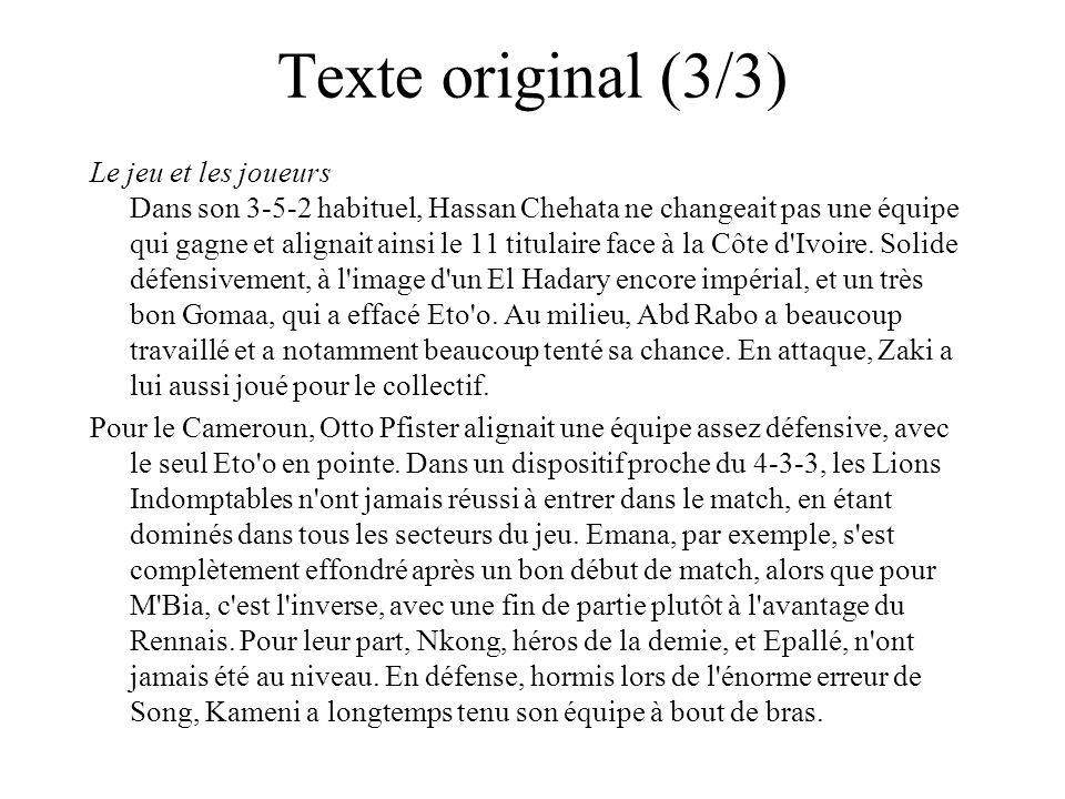 Texte original (3/3) Le jeu et les joueurs Dans son 3-5-2 habituel, Hassan Chehata ne changeait pas une équipe qui gagne et alignait ainsi le 11 titulaire face à la Côte d Ivoire.
