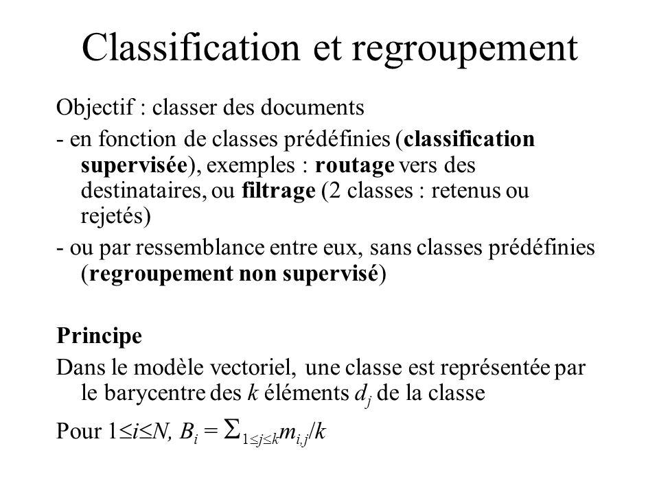 Classification et regroupement Objectif : classer des documents - en fonction de classes prédéfinies (classification supervisée), exemples : routage vers des destinataires, ou filtrage (2 classes : retenus ou rejetés) - ou par ressemblance entre eux, sans classes prédéfinies (regroupement non supervisé) Principe Dans le modèle vectoriel, une classe est représentée par le barycentre des k éléments d j de la classe Pour 1 i N, B i = 1 j k m i,j /k