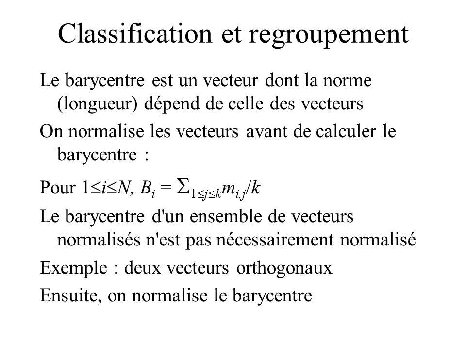 Classification et regroupement Le barycentre est un vecteur dont la norme (longueur) dépend de celle des vecteurs On normalise les vecteurs avant de calculer le barycentre : Pour 1 i N, B i = 1 j k m i,j /k Le barycentre d un ensemble de vecteurs normalisés n est pas nécessairement normalisé Exemple : deux vecteurs orthogonaux Ensuite, on normalise le barycentre