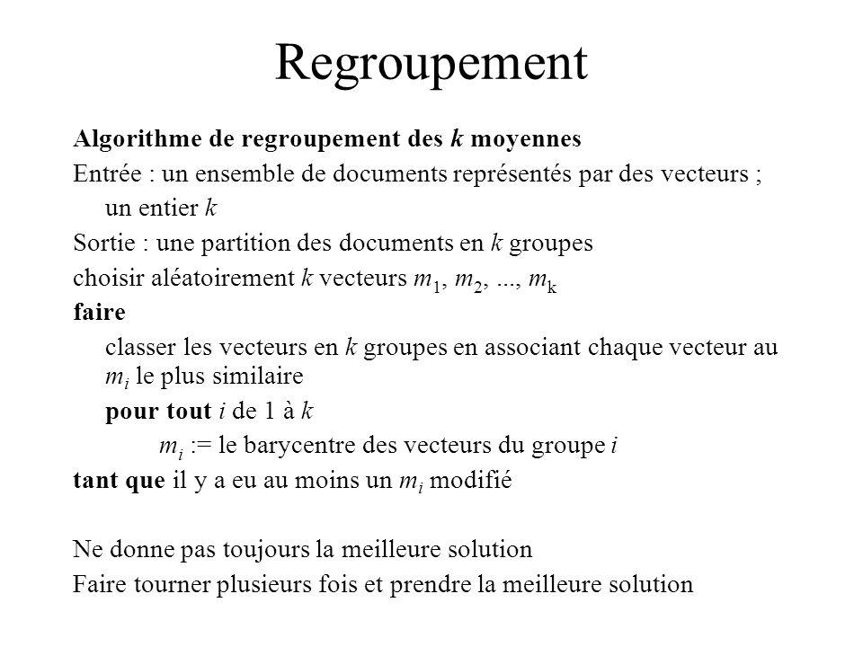 Regroupement Algorithme de regroupement des k moyennes Entrée : un ensemble de documents représentés par des vecteurs ; un entier k Sortie : une partition des documents en k groupes choisir aléatoirement k vecteurs m 1, m 2,..., m k faire classer les vecteurs en k groupes en associant chaque vecteur au m i le plus similaire pour tout i de 1 à k m i := le barycentre des vecteurs du groupe i tant que il y a eu au moins un m i modifié Ne donne pas toujours la meilleure solution Faire tourner plusieurs fois et prendre la meilleure solution