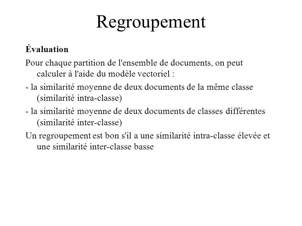 Regroupement Évaluation Pour chaque partition de l ensemble de documents, on peut calculer à l aide du modèle vectoriel : - la similarité moyenne de deux documents de la même classe (similarité intra-classe) - la similarité moyenne de deux documents de classes différentes (similarité inter-classe) Un regroupement est bon s il a une similarité intra-classe élevée et une similarité inter-classe basse