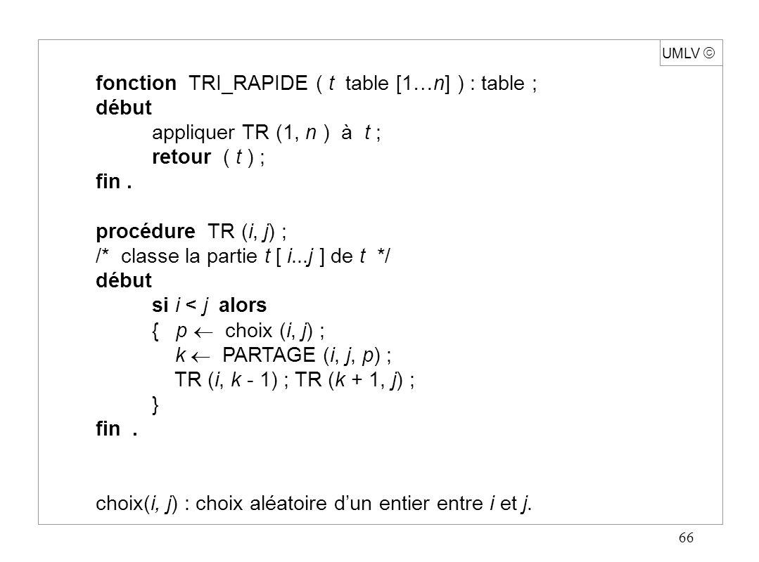 66 UMLV fonction TRI_RAPIDE ( t table [1…n] ) : table ; début appliquer TR (1, n ) à t ; retour ( t ) ; fin. procédure TR (i, j) ; /* classe la partie