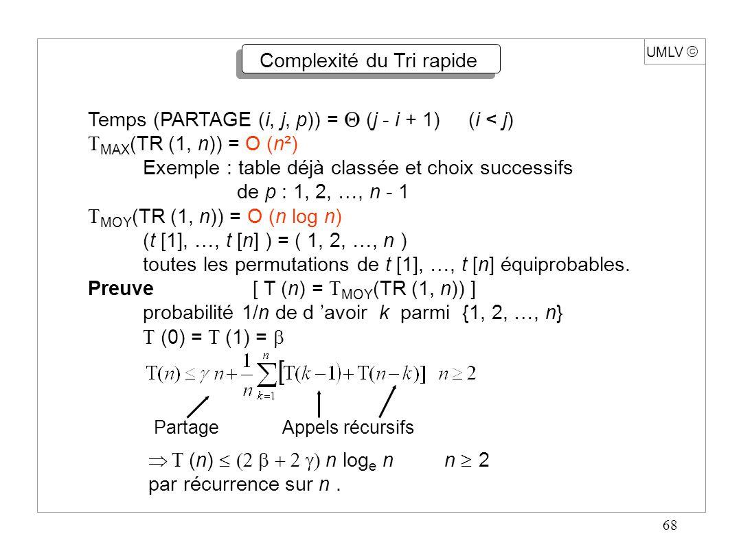 68 UMLV Complexité du Tri rapide Temps (PARTAGE (i, j, p)) = (j - i + 1) (i < j) MAX (TR (1, n)) = O (n²) Exemple : table déjà classée et choix succes