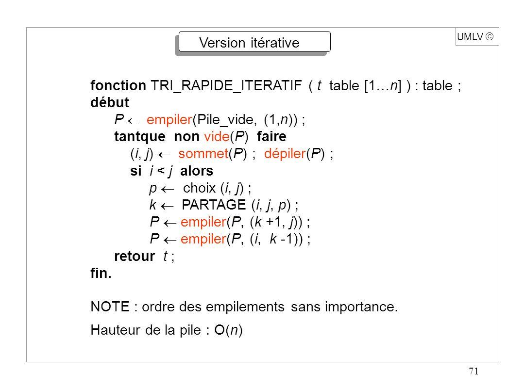 71 UMLV Version itérative fonction TRI_RAPIDE_ITERATIF ( t table [1…n] ) : table ; début P empiler(Pile_vide, (1,n)) ; tantque non vide(P) faire (i, j