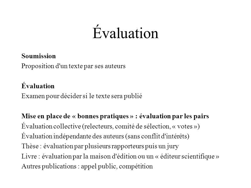 Évaluation Soumission Proposition d'un texte par ses auteurs Évaluation Examen pour décider si le texte sera publié Mise en place de « bonnes pratique