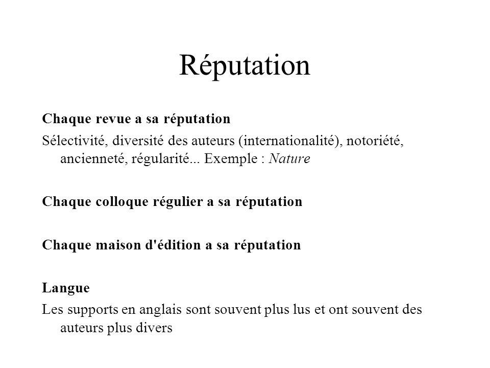 Réputation Chaque revue a sa réputation Sélectivité, diversité des auteurs (internationalité), notoriété, ancienneté, régularité... Exemple : Nature C