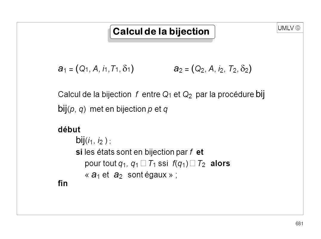 UMLV 681 a 1 = ( Q 1, A, i 1,T 1, 1 ) a 2 = ( Q 2, A, i 2, T 2, 2 ) Calcul de la bijection f entre Q 1 et Q 2 par la procédure bij bij (p, q) met en b