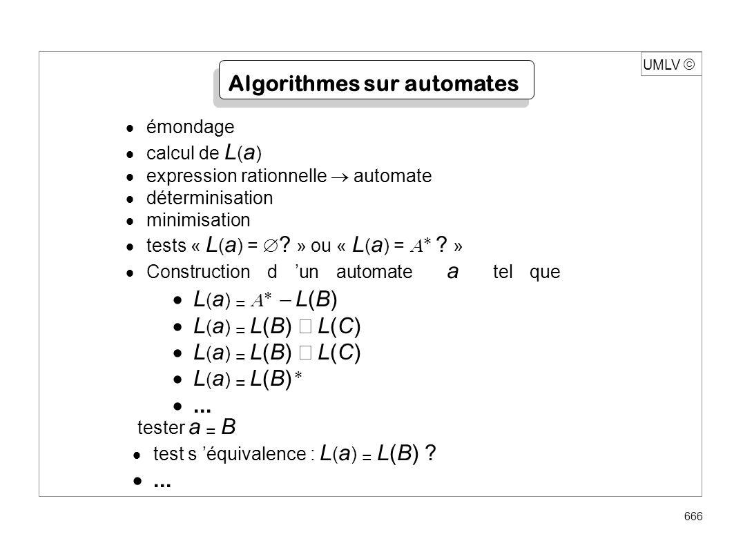 UMLV 666 Algorithmes sur automates émondage calcul de L ( a ) expression rationnelle automate déterminisation minimisation tests « L ( a ) = ? » ou «
