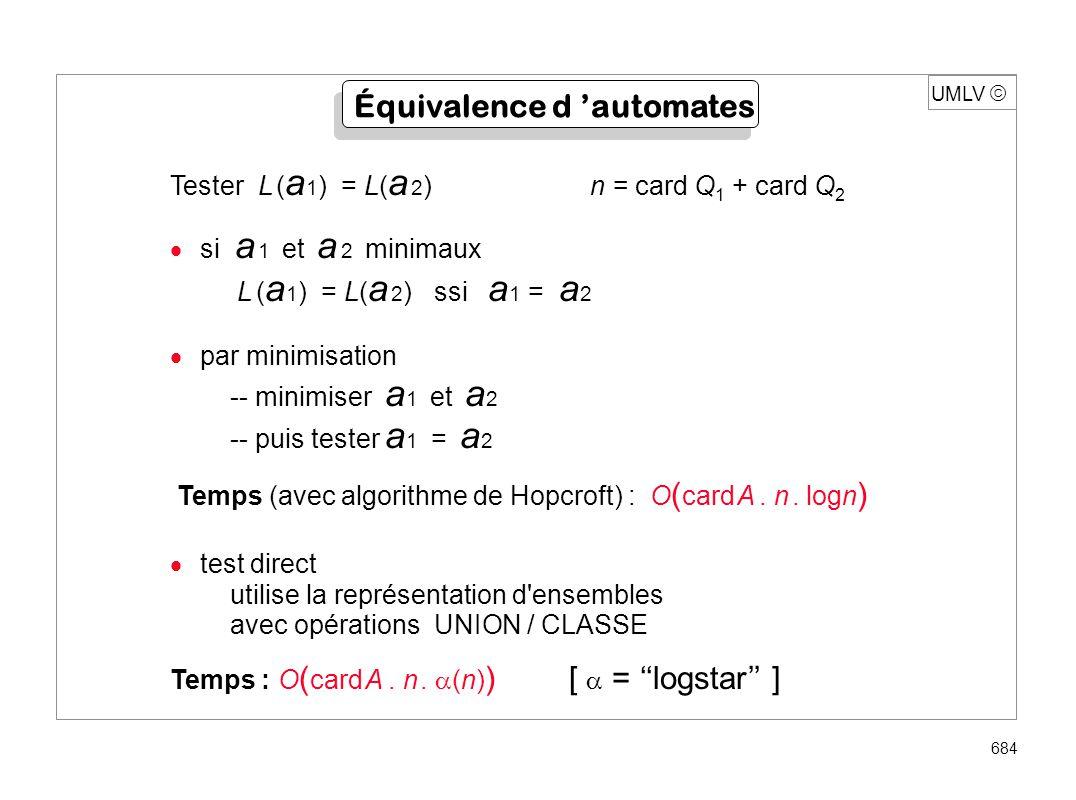 UMLV 684 Équivalence d automates Tester L ( a 1 ) = L( a 2 ) n = card Q 1 + card Q 2 si a 1 et a 2 minimaux L ( a 1 ) = L( a 2 ) ssi a 1 = a 2 par min