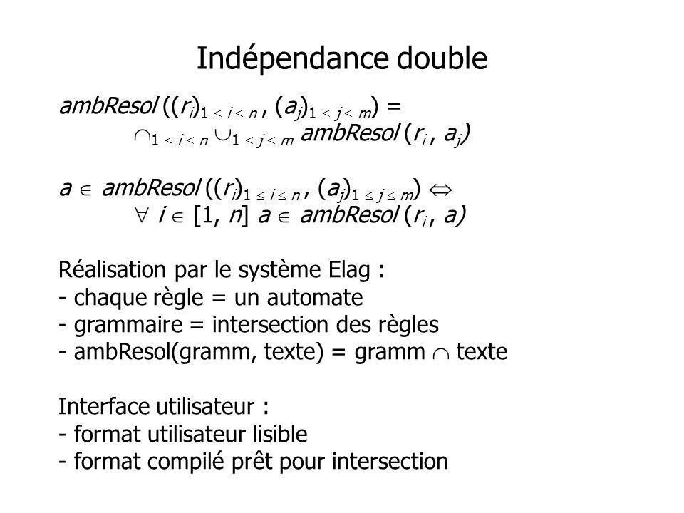 Indépendance double ambResol ((r i ) 1 i n, (a j ) 1 j m ) = 1 i n 1 j m ambResol (r i, a j ) a ambResol ((r i ) 1 i n, (a j ) 1 j m ) i [1, n] a ambR