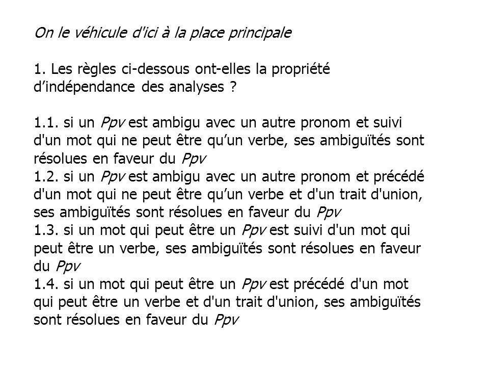 On le véhicule d'ici à la place principale 1. Les règles ci-dessous ont-elles la propriété dindépendance des analyses ? 1.1. si un Ppv est ambigu avec