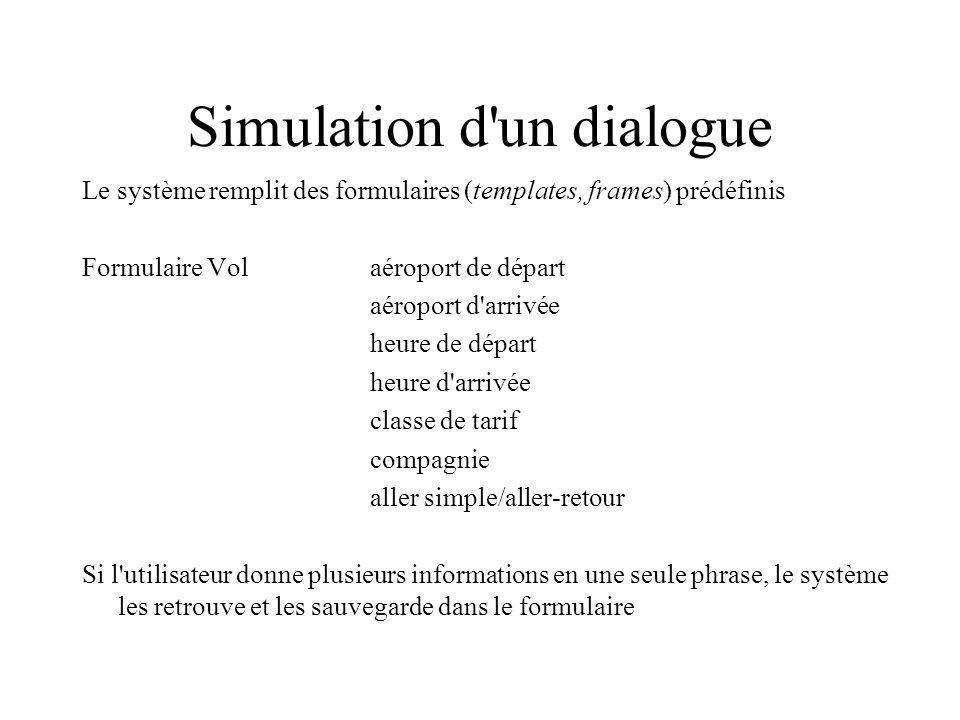 Simulation d'un dialogue Le système remplit des formulaires (templates, frames) prédéfinis Formulaire Volaéroport de départ aéroport d'arrivée heure d