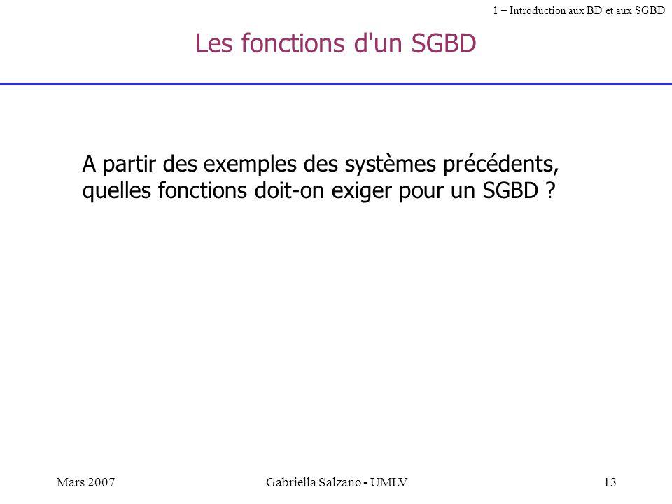 12Mars 2007Gabriella Salzano - UMLV SGBD relationnel: les données sont stockées dans des tables Exemple : Volsn°volcompagnietype_avion 123Air FranceBo