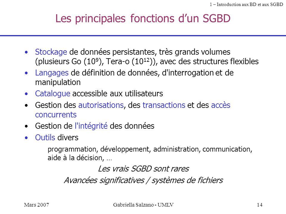 13Mars 2007Gabriella Salzano - UMLV Les fonctions d'un SGBD A partir des exemples des systèmes précédents, quelles fonctions doit-on exiger pour un SG
