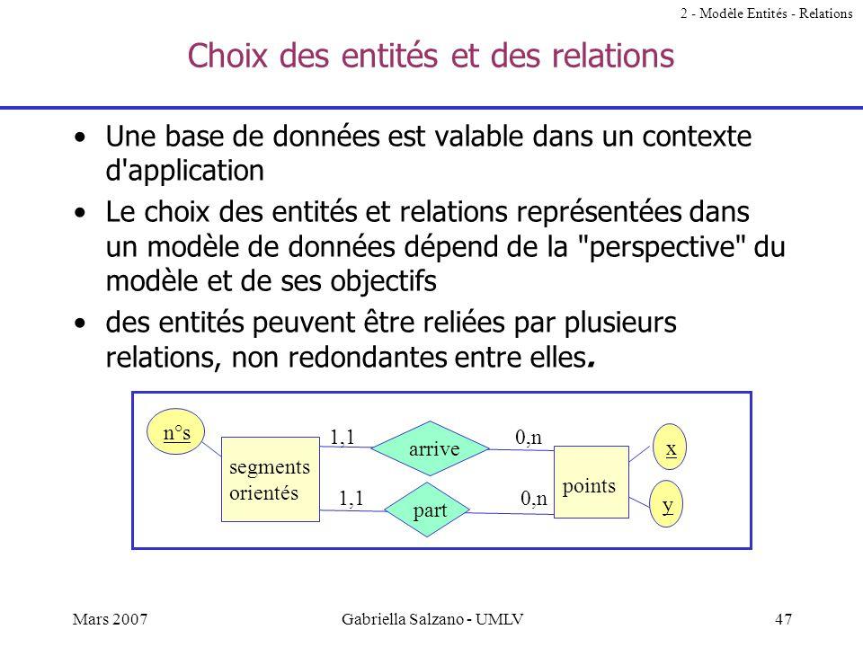 46Mars 2007Gabriella Salzano - UMLV Question A partir des cardinalités d'une relation binaire, on peut déduire le type de la relation. Comment ? 2 - M